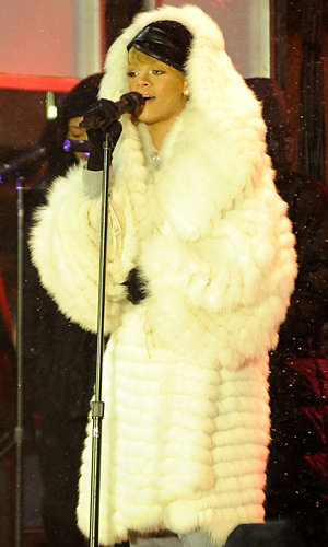 Rihanna wraps up for open-air performance in a snow-filled NYC