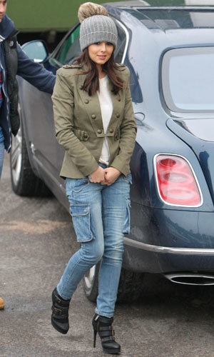 Cheryl Cole wraps up warm as she joins Matt Cardle, One Direction and Cher Lloyd in X Factor rehearsals!