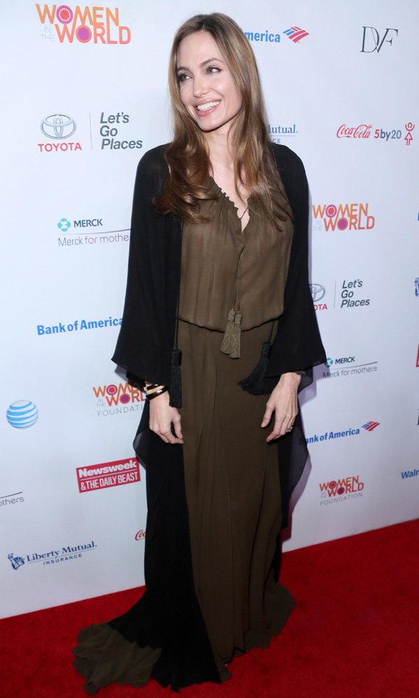 Angelina Jolie is all smiles in Saint Laurent at charity event