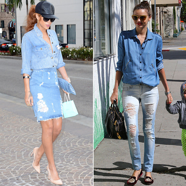 Miranda Kerr and Rihanna fly the flag for double denim