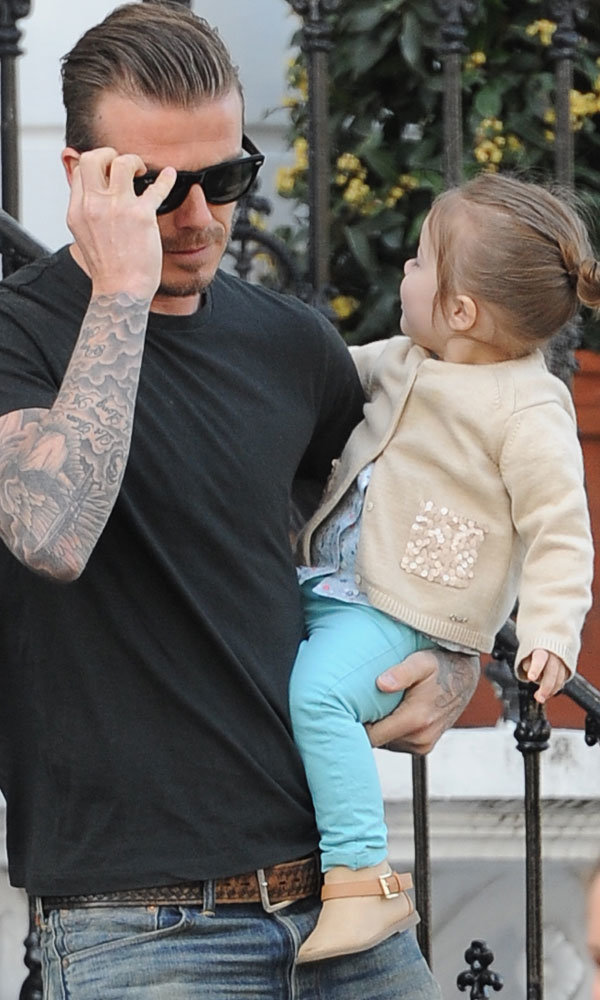 David and Harper Beckham work spring brights on another day out