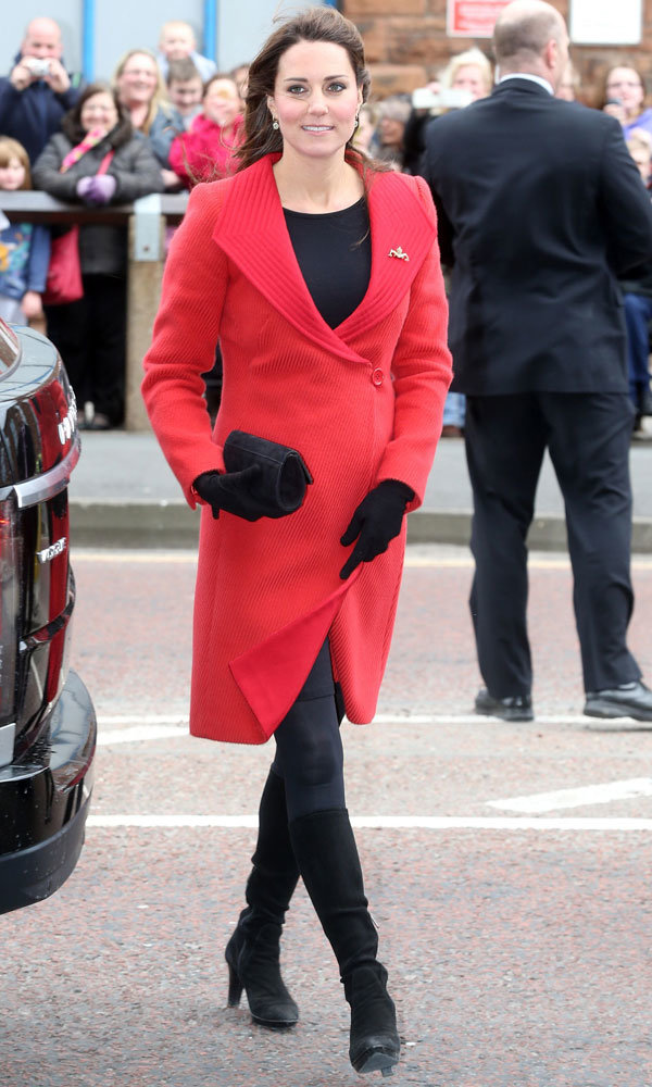Kate Middleton wears red Armani coat for second day of Scotland tour