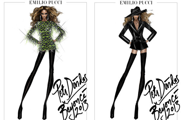 Pucci reveals sketches for Beyonce's Mrs Carter Show tour outfits