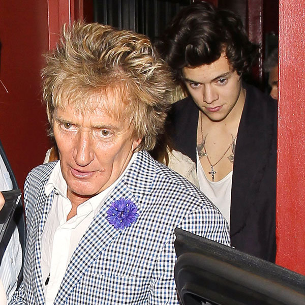 Harry Styles enjoys a night out with Rod Stewart!