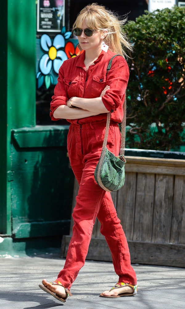 Sienna Miller has spring dressing sussed in a striking red jumpsuit