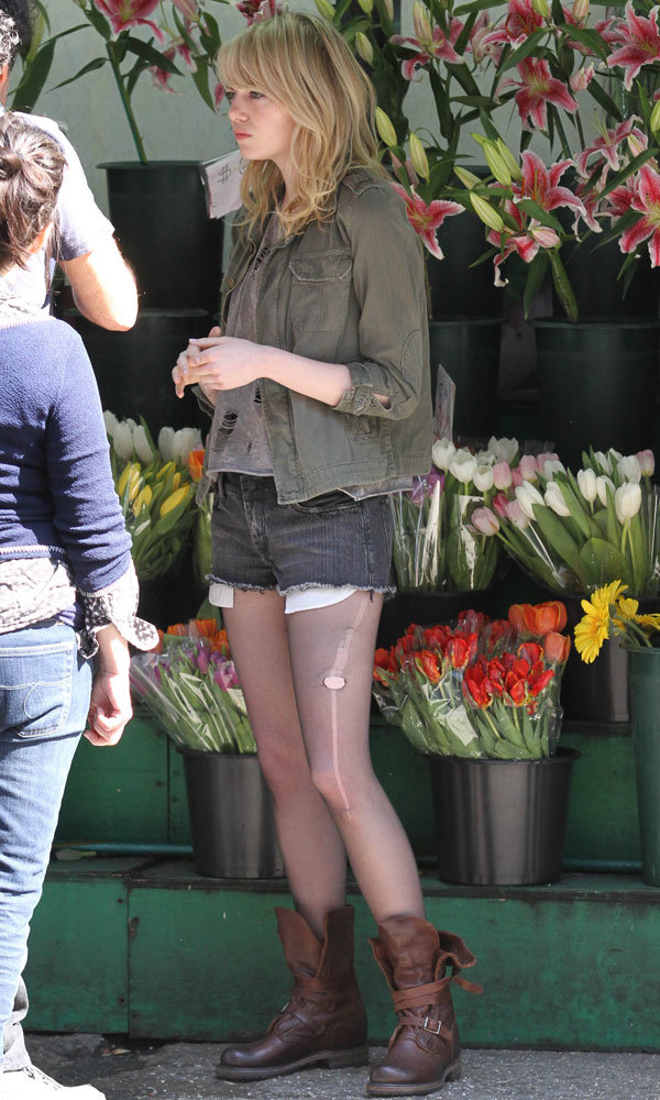 Emma Stone hits the Birdman set in New York