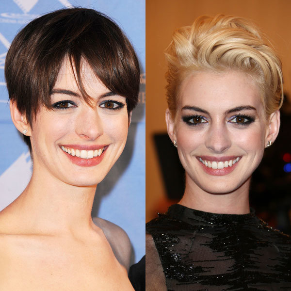 Anne Hathaway goes back to brunette from her blonde crop!
