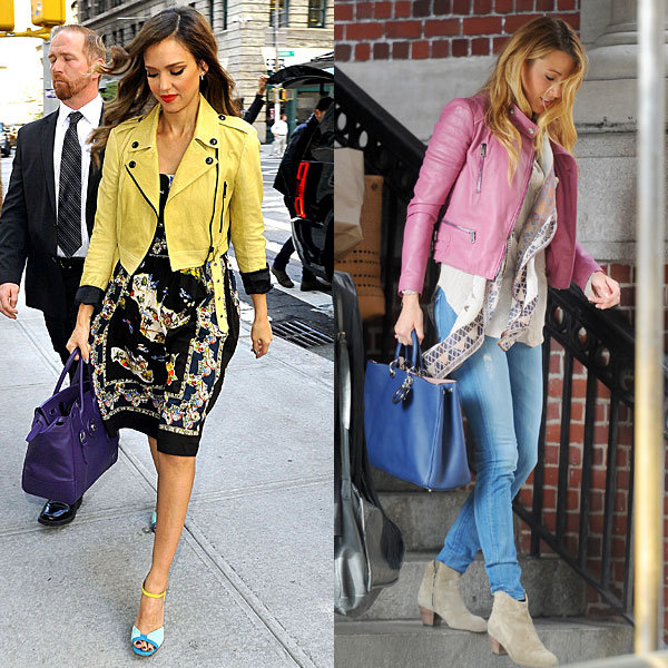 Jessica Alba and Blake Lively champion the bright leather jacket trend