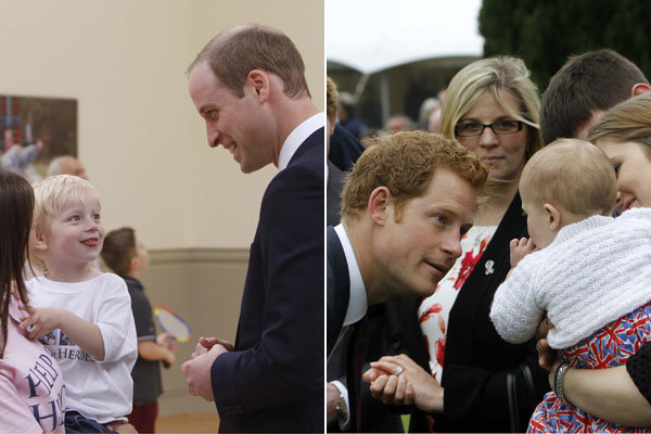 Prince William practises his parenting skills with Prince Harry at the Help for Heroes centre opening