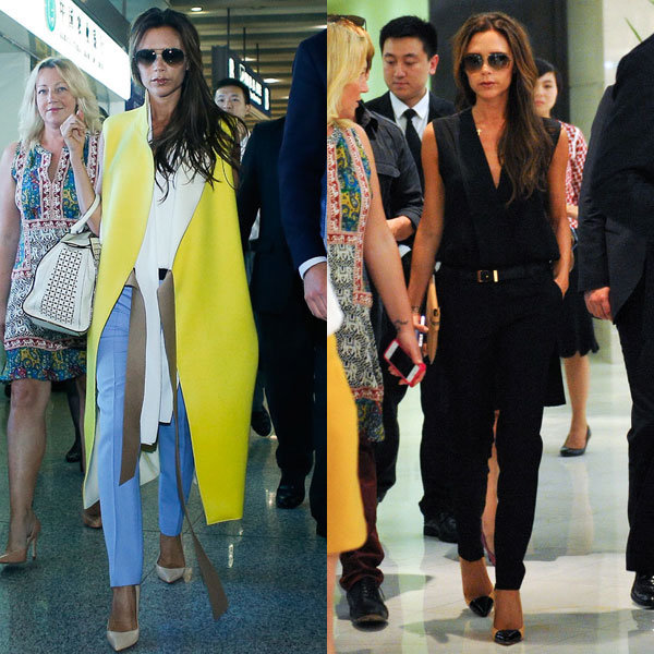 Victoria Beckham scores fashion hat-trick out in China with David!