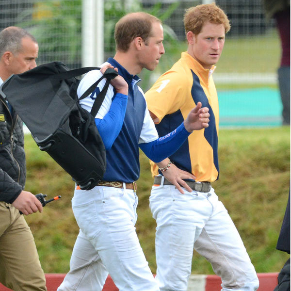 Prince William and Prince Harry horse around at polo match