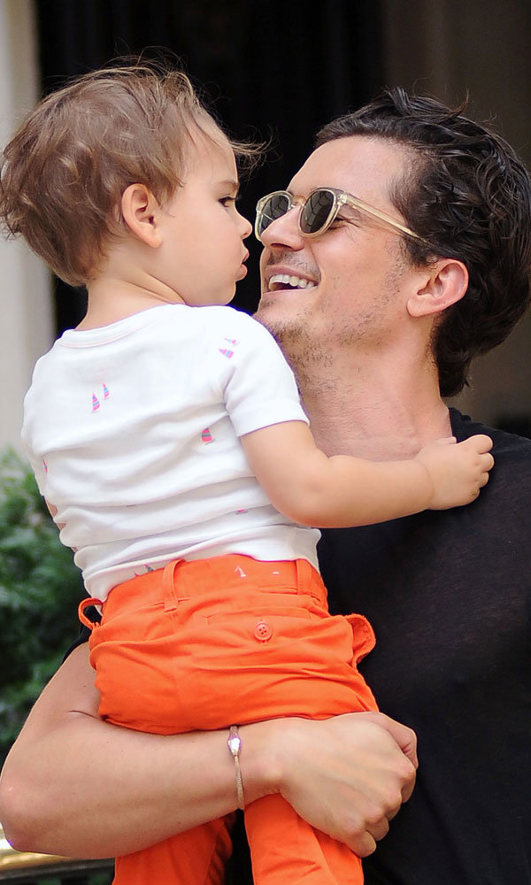Orlando Bloom and baby Flynn enjoy boys' day out