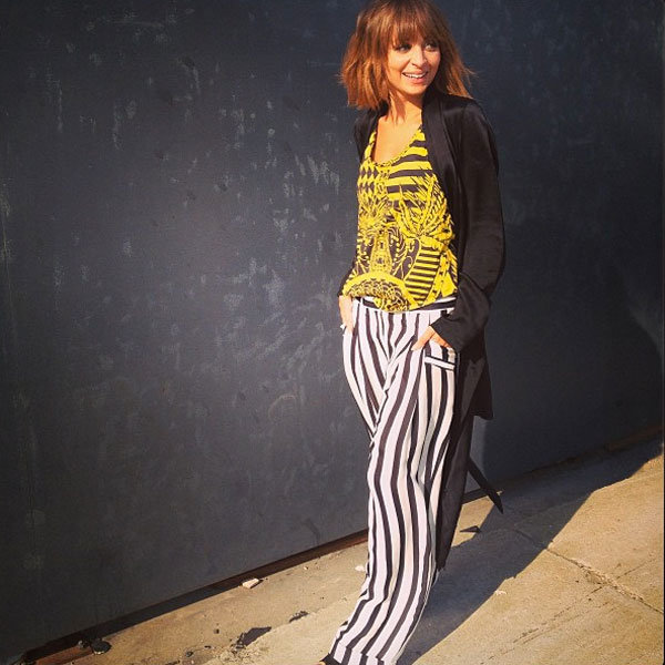 Nicole Richie recycles striped Balmain trousers