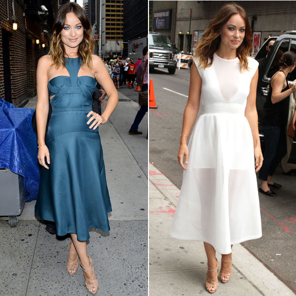 Olivia Wilde works four sizzling outfit changes in one day