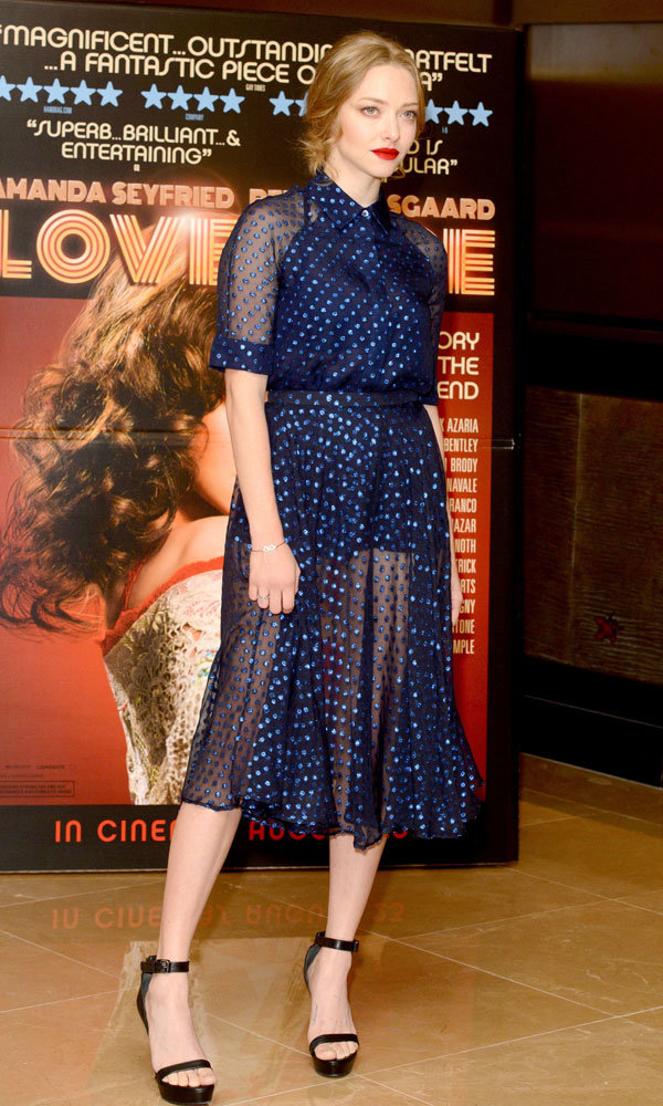 Amanda Seyfried goes sheer in Gucci at Lovelace screening