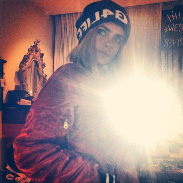 Cara Delevingne snaps selfie in Rihanna's latest River Island collection