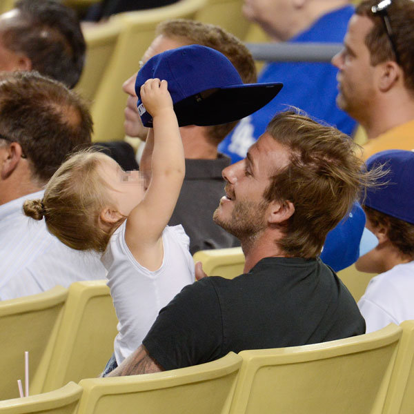 David Beckham takes Harper and the boys to the baseball