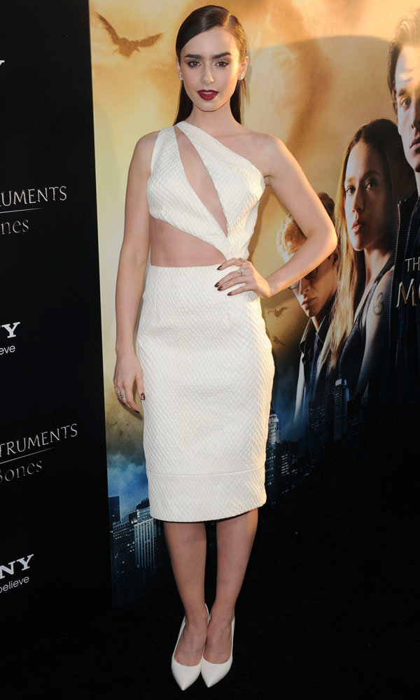 Lily Collins stuns in white at The Mortal Instruments premiere