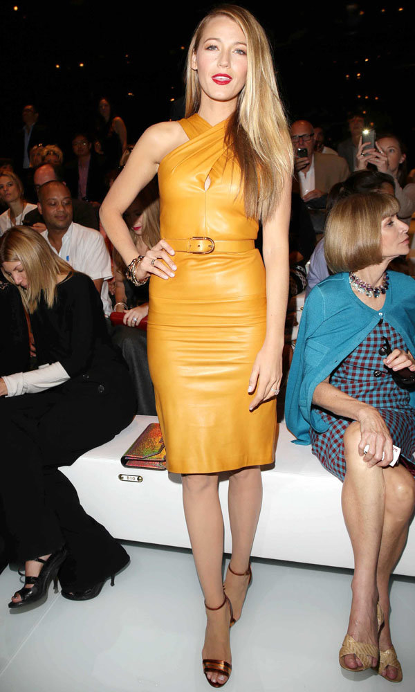 Blake Lively Wows In Gucci Leather At Milan Fashion Week