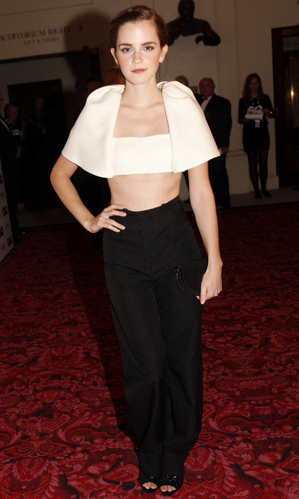 Emma Watson wows in a crop top at the GQ Men of the Year Awards
