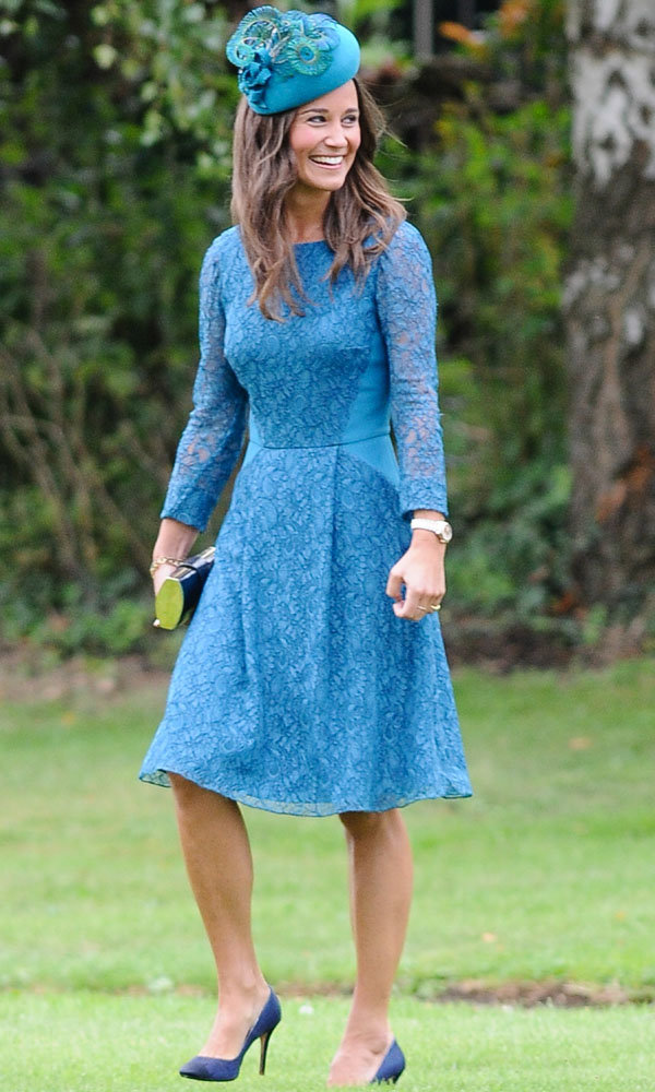 Pippa Middleton Wows In Teal At A Friend's Wedding