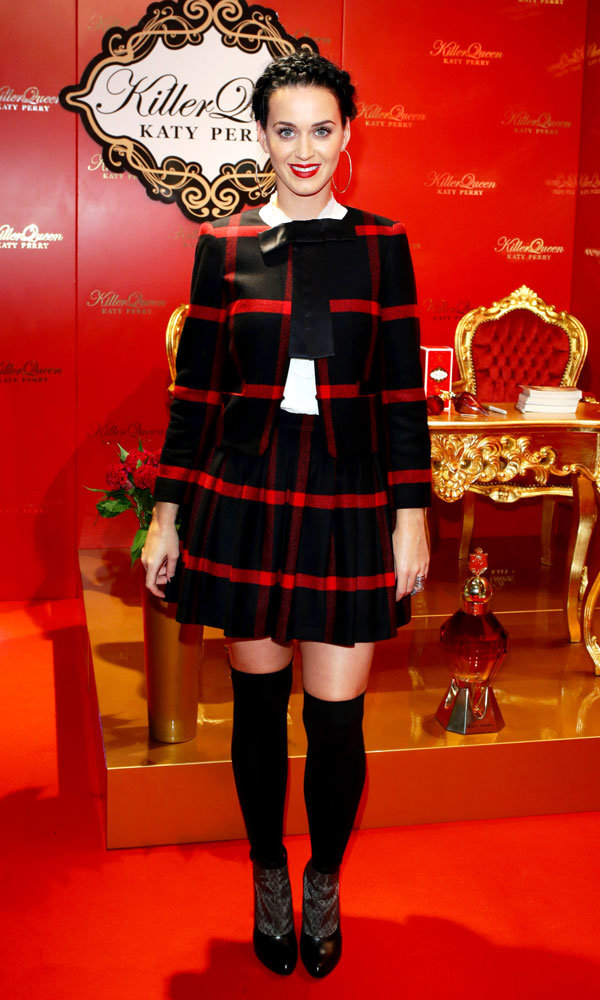 Katy Perry Does Tartan Tailoring For Killer Queen Fragrance Launch