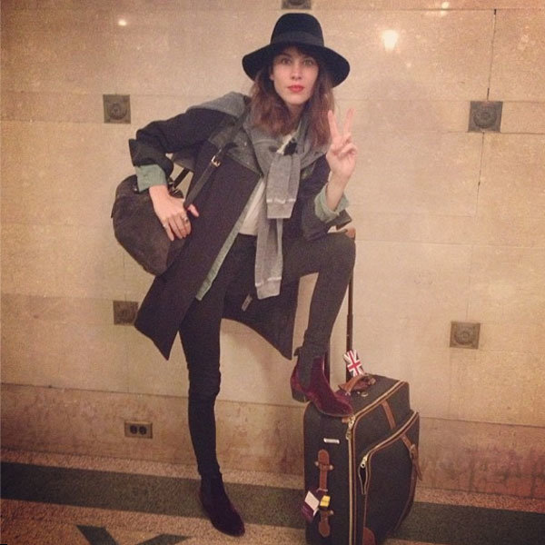 Alexa Chung Shows Off Stylish Outfit For Flight To France