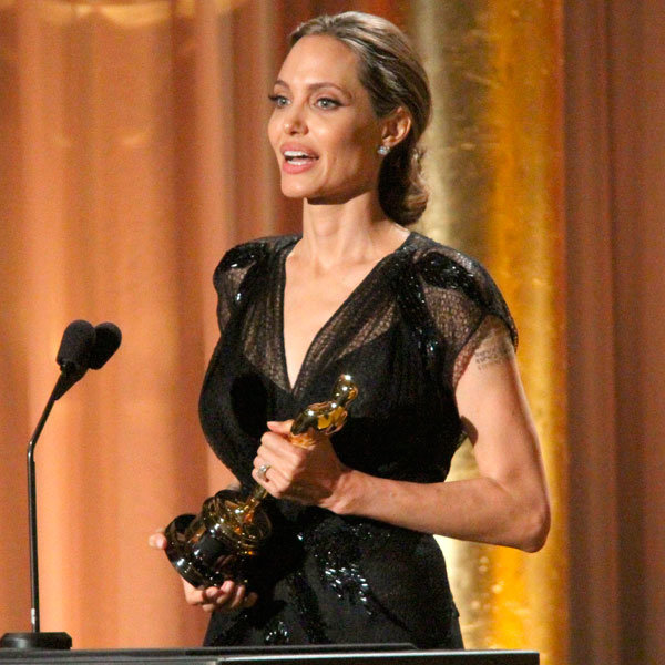 Angelina Jolie Chooses Versace For Emotional Night At Honorary Oscars