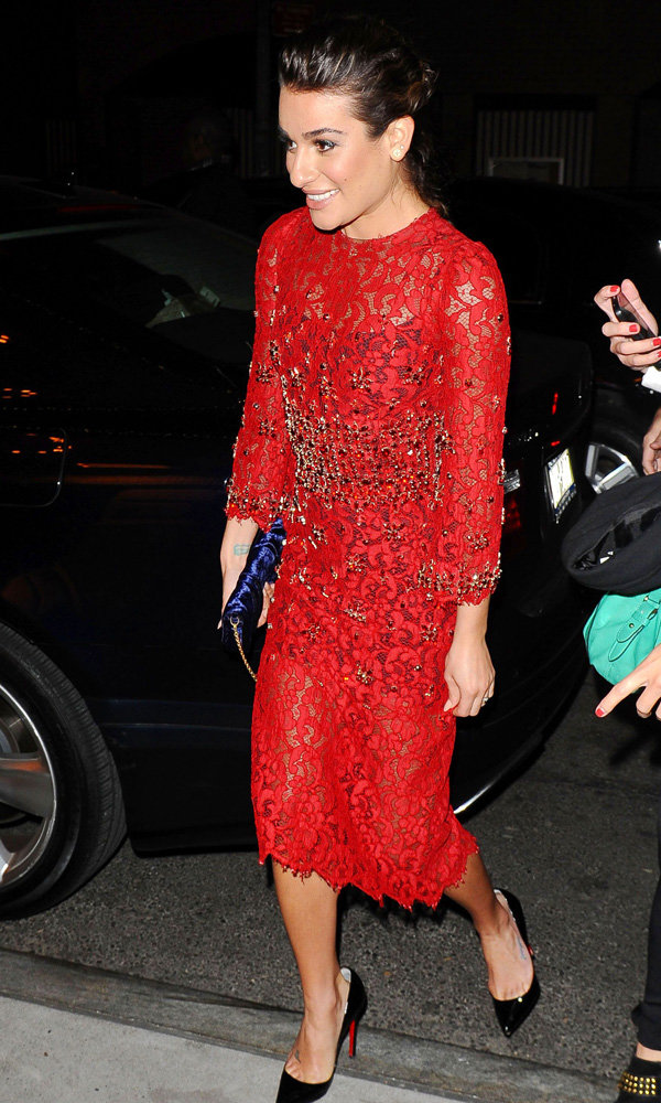 Lea Michele Opts For A Little Red Dress For L'Oreal Party