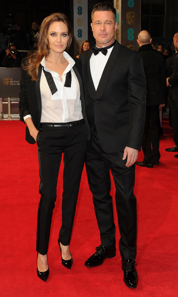 Angelina Jolie And Brad Pitt Match Their Tuxedos At The Baftas 2014