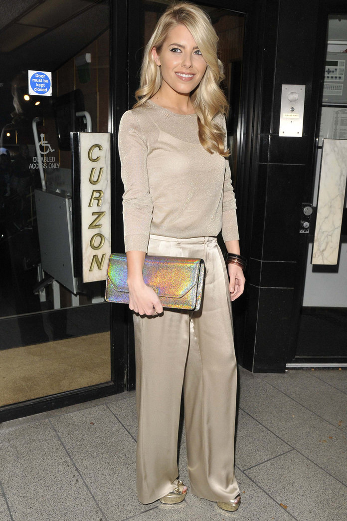 Mollie King Oozes Glamour In Top-To-Toe Gold