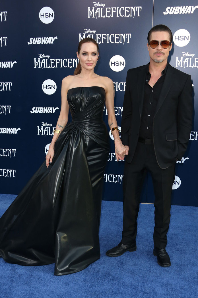 Angelina Jolie Pulls Off A Tricky Rubber-Look Dress