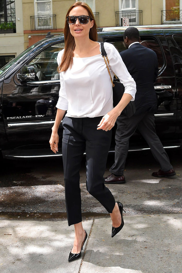 Angelina Jolie Steps Out In Chic Monochrome Separates