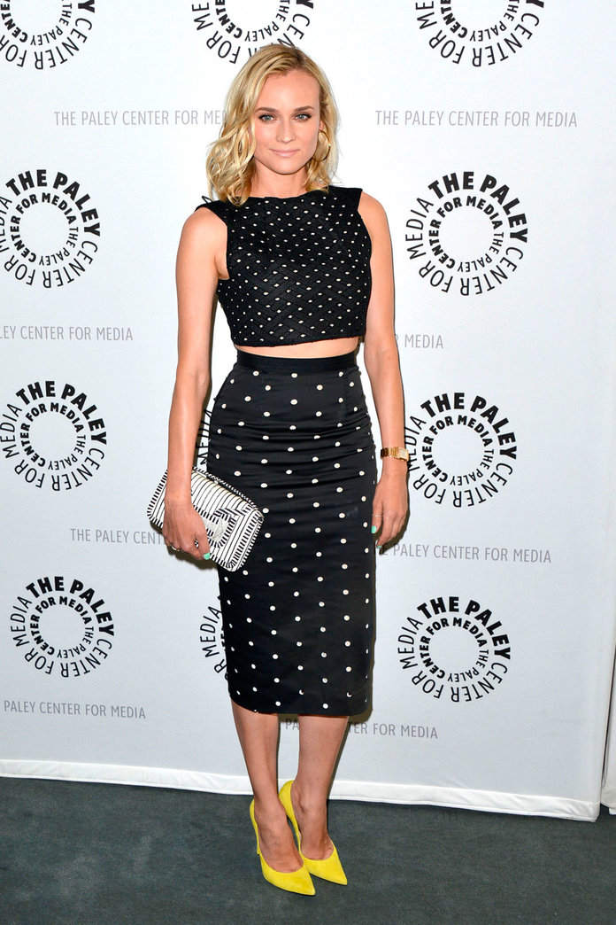 Diane Kruger Amps Up Her Black Ensemble With Ultra-Bright Heels