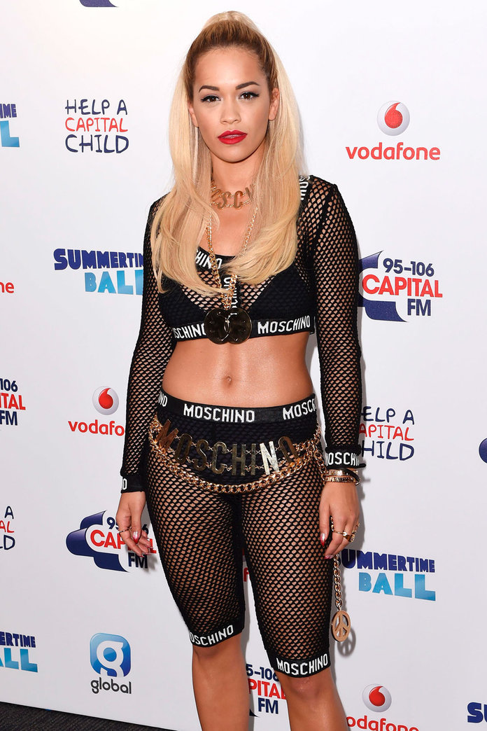 Rita Ora Shows Us More Than We Bargained For In Fishnet Moschino