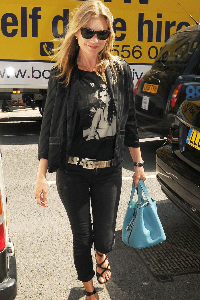 Kate Moss Does Top-To-Toe Black For A Lunch Date In London
