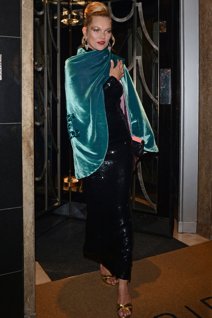 Kate Moss Goes All Out Glam To Host A Starry Fashion Week Party