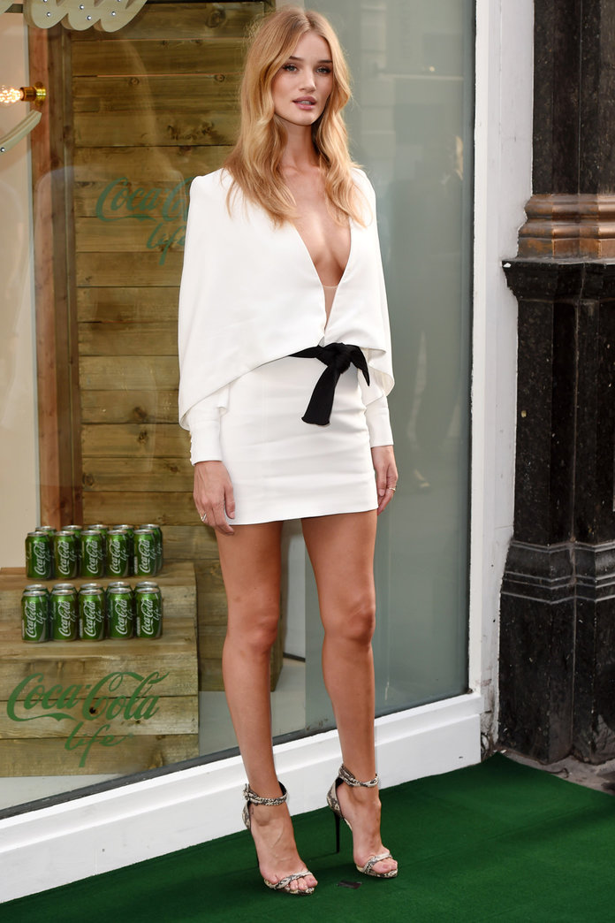 Rosie Huntington-Whiteley Ramps Up The Glamour In A Racy Mini Dress