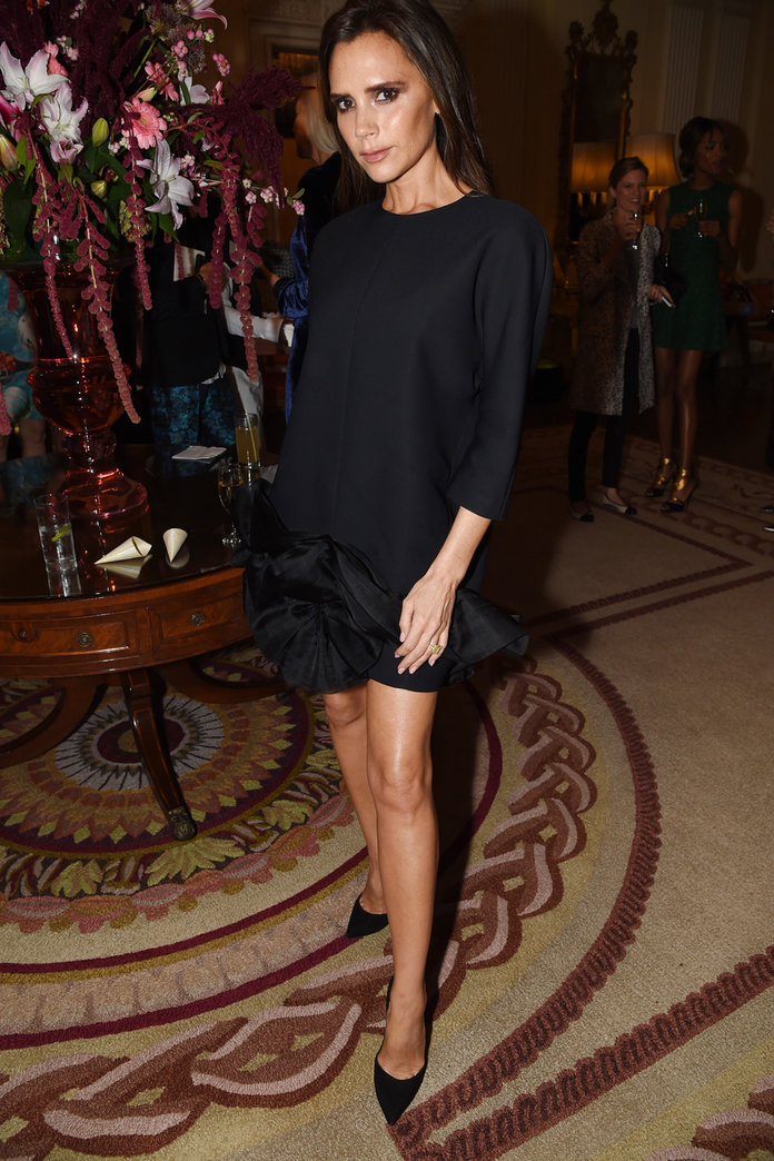 Victoria Beckham Steals The Show In A Classic LBD At A LFW Bash