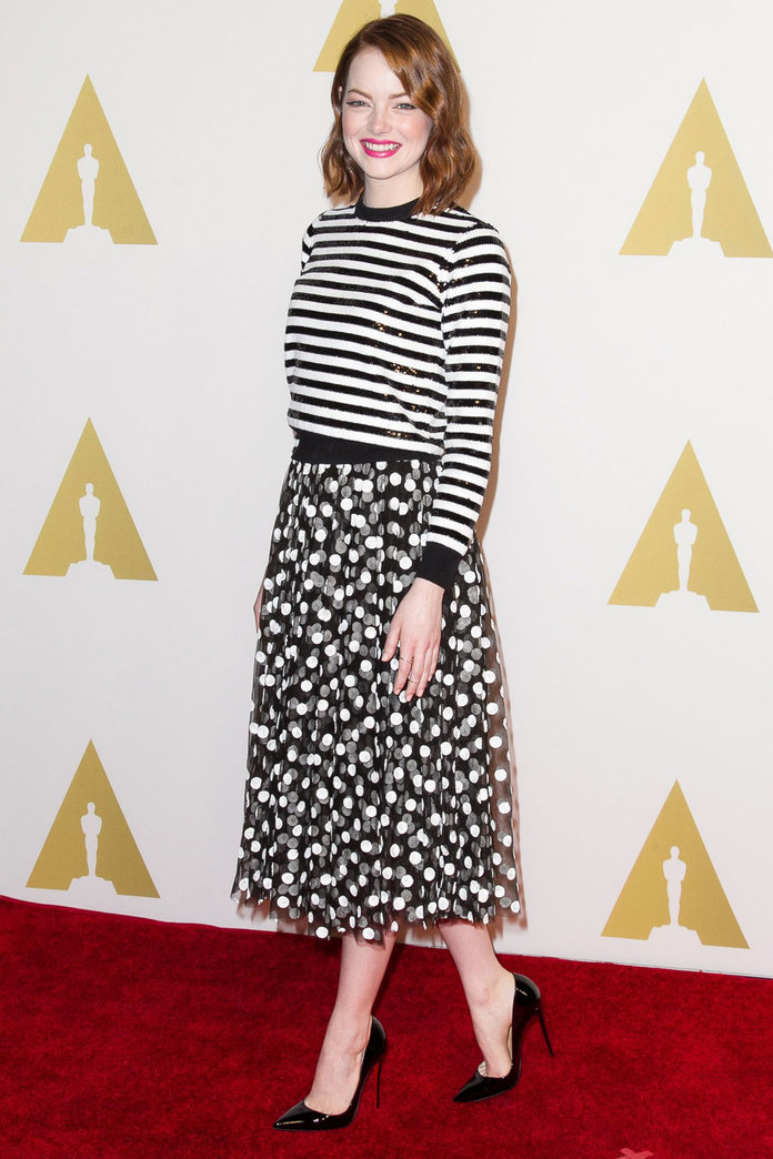 Emma Stone Shows How To Clash Stripes And Polka Dots Like A Pro