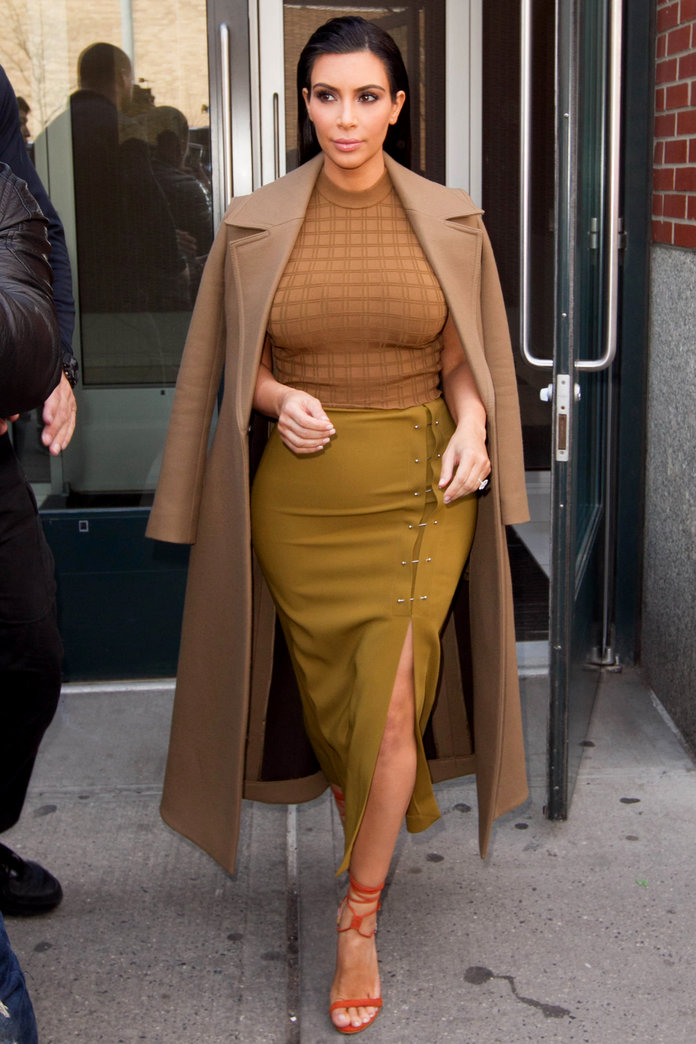 Kim Kardashian Demonstrates The Easiest (And Edgiest) Way To Update Your Front Split Skirt