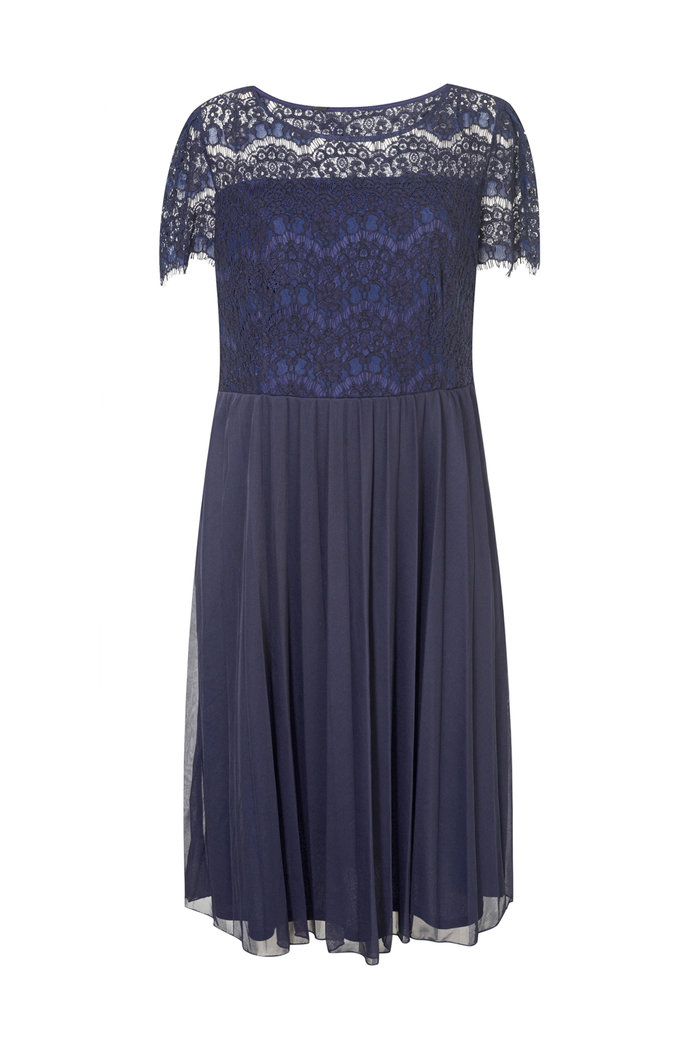 Dp curve navy pleated and lace dress