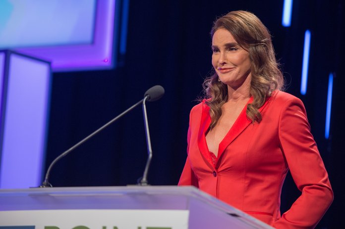Caitlyn Jenner Works The Suit Jacket & Lacy Bra Combo Like A Pro