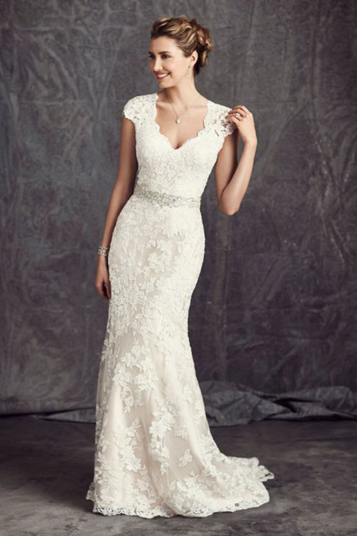The most popular lace wedding dresses according to for Long straight wedding dresses