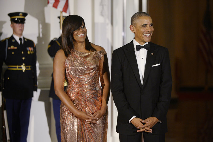 Michelle Obama Dazzles In Rose Gold Atelier Versace For Her Final State Dinner
