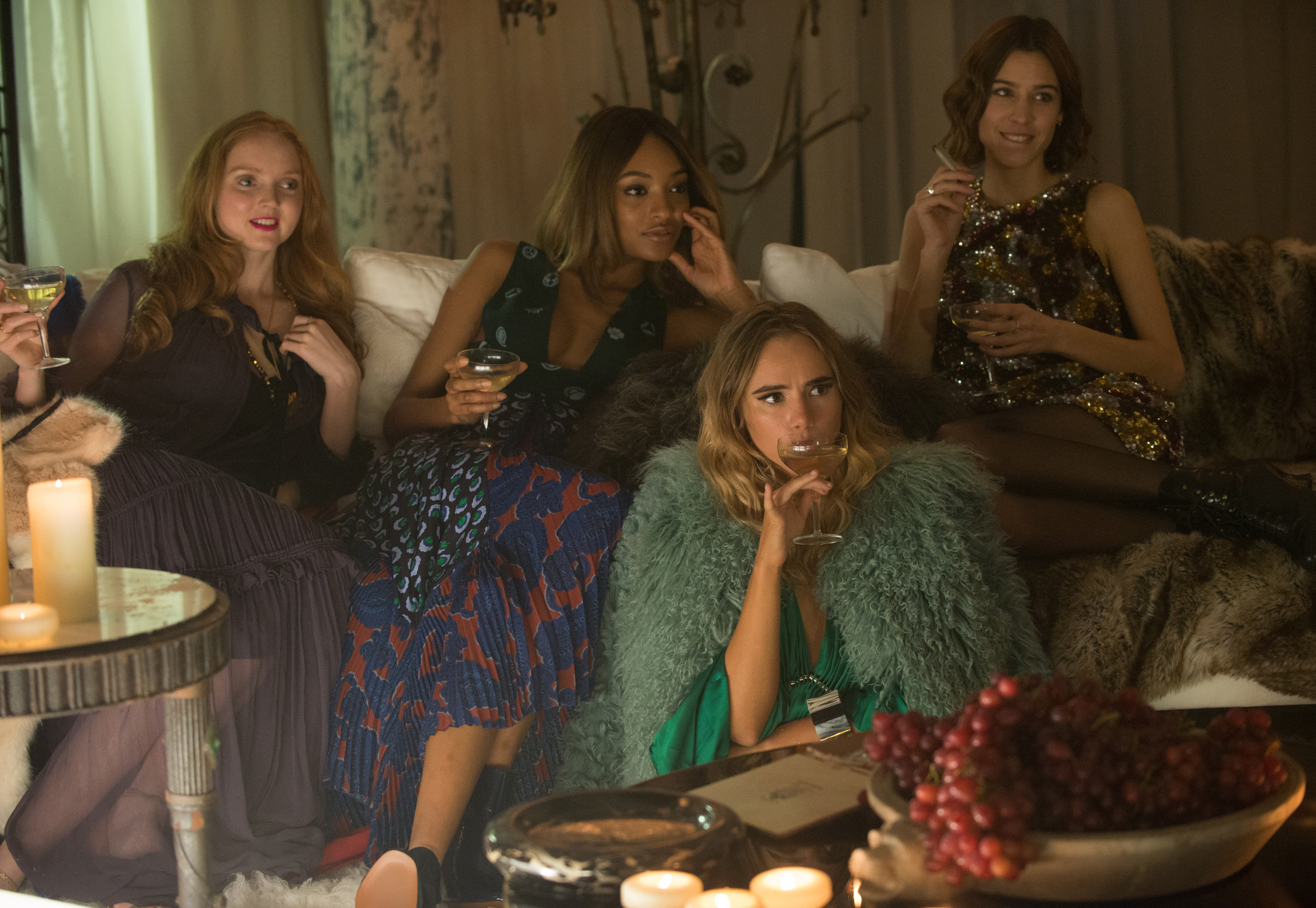 (From L-R) Lily Cole as herself, Jourdan Dunn as herself, Suki Waterhouse as herself, and Alexa Chung as herself in the film ABSOLUTELY FABULOUS: THE MOVIE. Photo by David Appleby. © 2016 Twentieth Century Fox Film Corporation All Rights Reserved