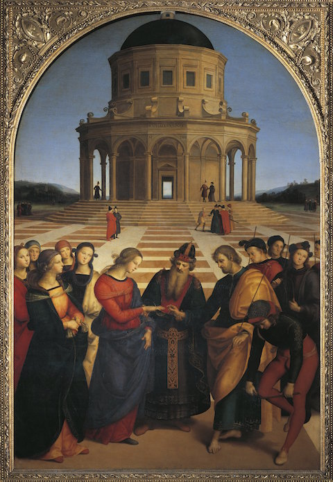 UNSPECIFIED - CIRCA 1987:  Raffaello Sanzio (1483-1520), The Wedding of the Virgin.  (Photo By DEA / G. NIMATALLAH/De Agostini/Getty Images)