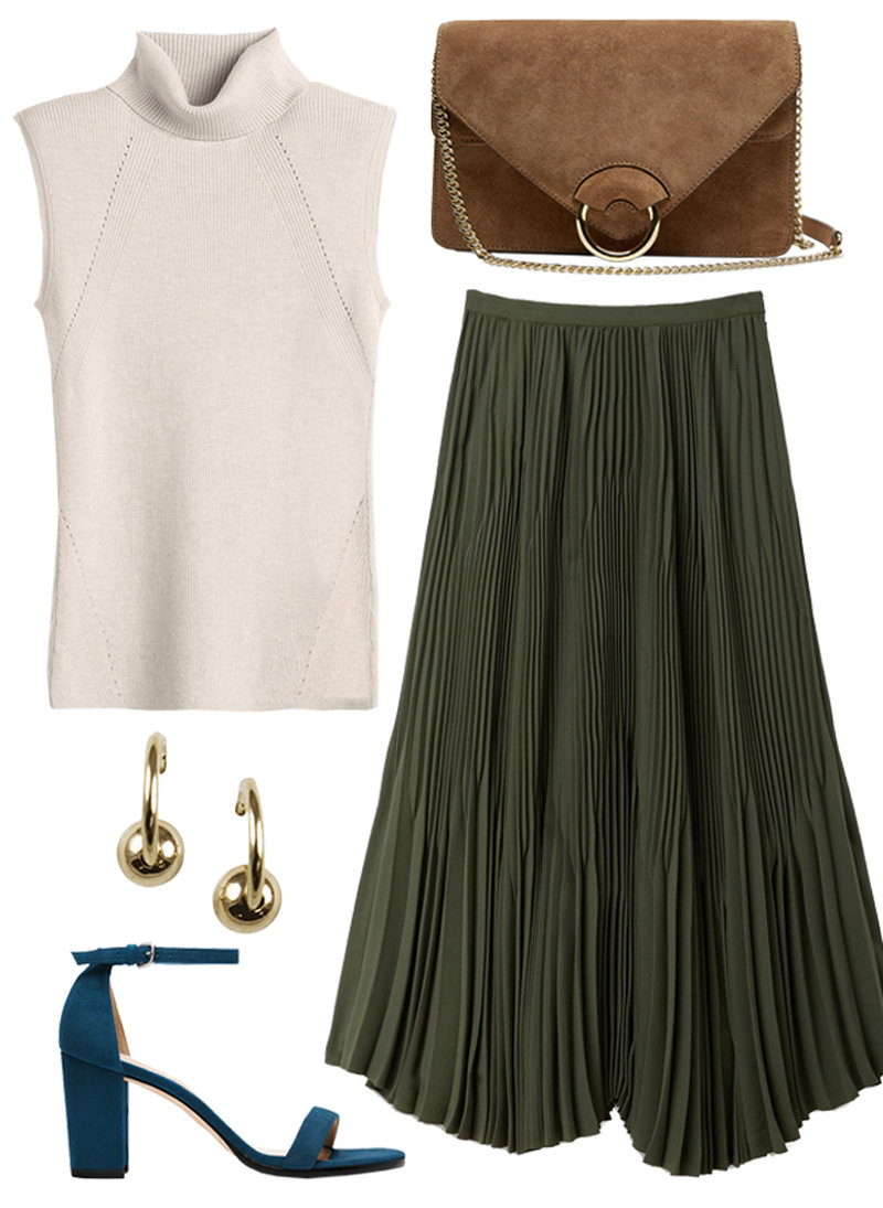With a Flirty Pleated Skirt + Minimalist Sandals