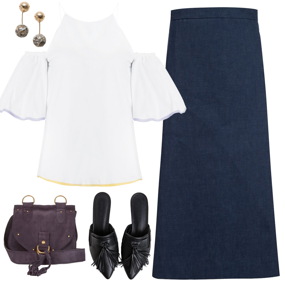With a Off-the-shoulder top + Denim maxi Skirt