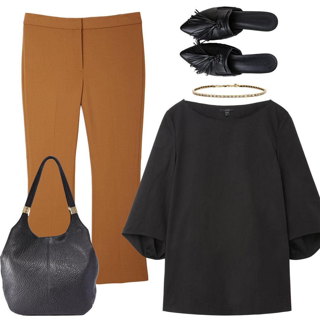 <p>With Kick Flares + StructuredBlouse</p>